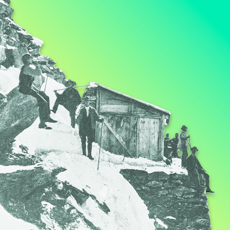 Mountain hut with mountaineers